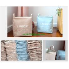 Large Sized Waterproof Coating Ramie Cotton Fabric Folding Laundry Hamper