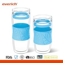 Promocional resistente al calor doble pared de vidrio de agua de la Copa al por mayor