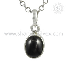 New Splendid Black Star Gemstone Pendentif À la main 925 Bijoux en Argent Sterling Vente en gros Jaipur Bijoux en ligne