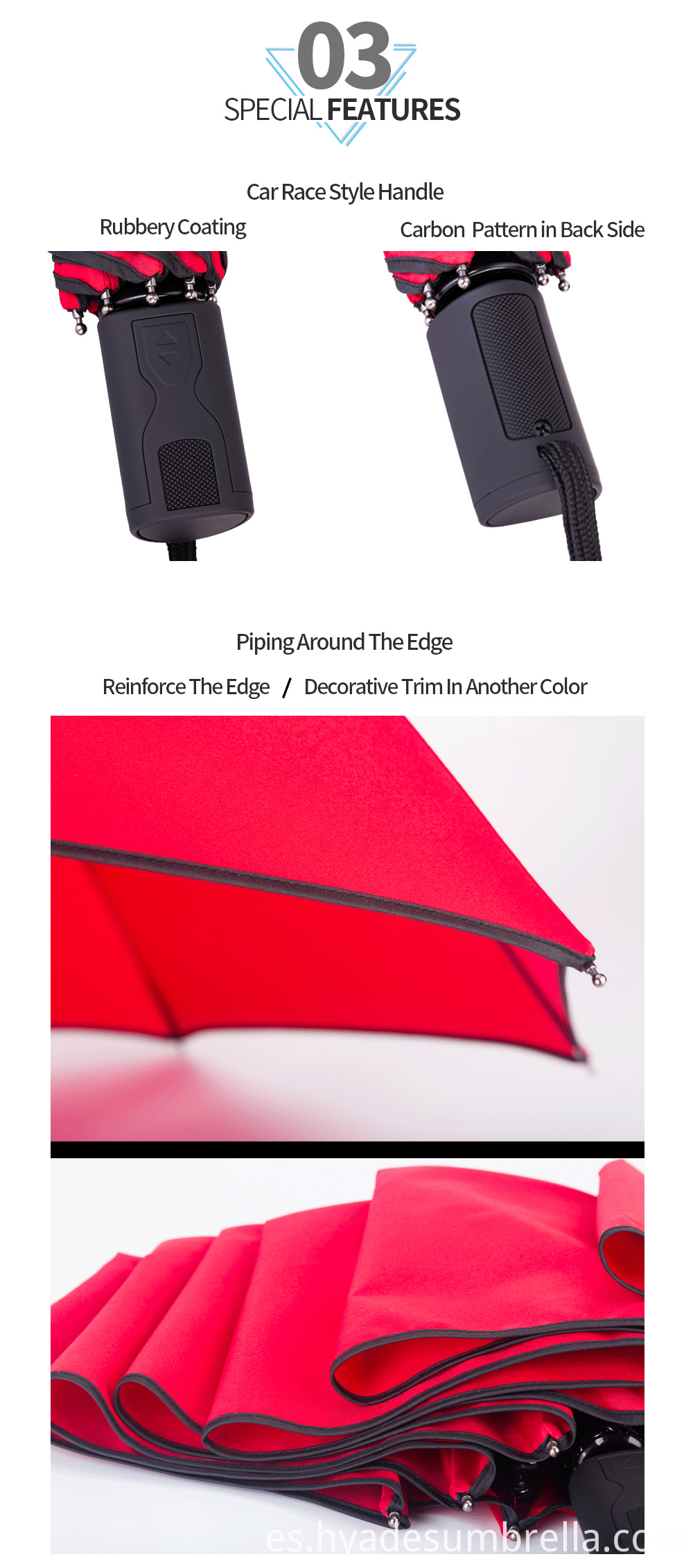 3 Folding Umbrella Piping Black