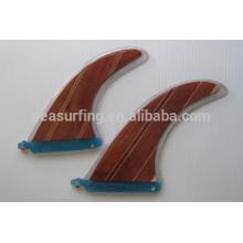 aletas de natación de diseño colorido aletas de surf / aleta de surf de madera