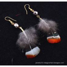 Hot sale natural indian feather earrings