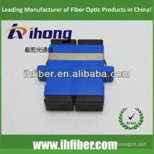 SC duplex singlemode fiber optic adapter, Blue housing, black caps