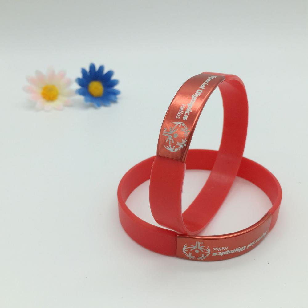 Silicone Wristbands with metal