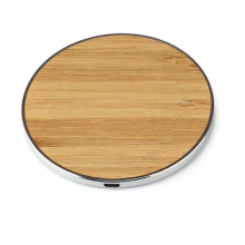 Portable Round Shape Wireless Charger  10W Wireless Charger Bamboo  Fast Charger Wood Wireless Charge
