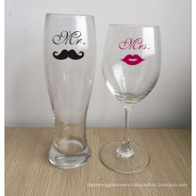 Mr Beard Mrs Lip beer glass and wine glass,Wedding couple glasses.