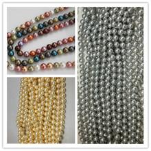 8мм Perfect Round Shell Loose Pearls Большие отверстия Жемчужные бусины
