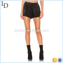 Preto com shorts de fitness de couro PU qaist alto calções para senhoras calções de fitness