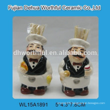 Ceramic chef promotional toothpick dispense for kitchen