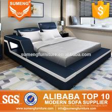 дешевые оптовые красивые синий и белый домашний комплект мебели спальни