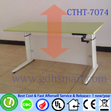 stainless steel writing desk manual crank height adjustable desk