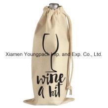 Promocionais Custom Drawstring Algodão Tela Pano Vinho Saco