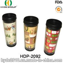 Caneca de café plástica inserida da parede do dobro da imagem (HDP-2092)