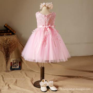 De noël NOUVELLES conceptions brodé robe de soirée grand arc enfants vêtements de haute qualité grand arc rose enfants bébé filles de haute classe