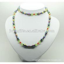 Fashion Hematite Wrap With Round Rainbow Beads