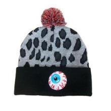 Os chapéus / tampões do Beanie do jacquard do leopardo feitos sob encomenda dobram-se acima com bola / Pompom superiores