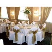 housses de chaises polyester 100 %, housses de chaises de banquet/hôtel/mariage, ceinture d'organza