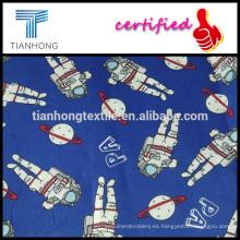 dibujos animados de carácter astronauta Australia algodón armadura de Satén tela de la impresión para pijamas de niños de niños