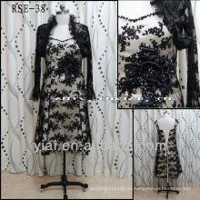 RSE38 Cap manga Champagne madre de la novia de encaje té longitud vestidos con chaqueta