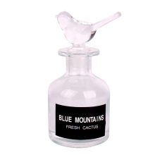 Hot sale 4oz 120ml glass round shaped diffuser bottle with bird lid