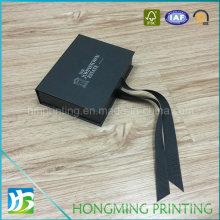 Luxury Book Style Cardboard Ring Box with Silk Ribbon