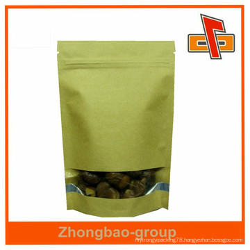 chinese manufacturer ziplock stand up kraft paper bag with window for food
