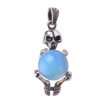 Gems Precious Opal Jewelry Skull Silver Pendant