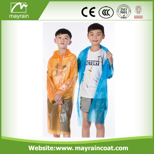Orange Color PE Raincoat
