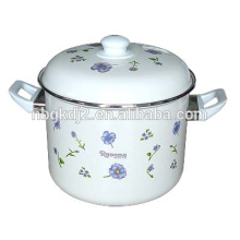 custom design enamel coating high quality stock pot with full decal and pp or bakelite knob and pp handle