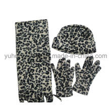 Fashion Lady Knitting Winter Warm Printed Polar Fleece Set