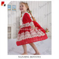 JannyBB red snowflake embroidery long sleeve dress