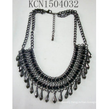 Retro Fabric Black Nickel Ore Necklace with Metal