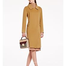 17PKCSC013 mulheres camada dupla 100% casaco de lã de cashmere