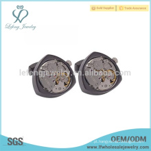 Design elegante cufflink relógio, punho preto arma, cufflink fabricante