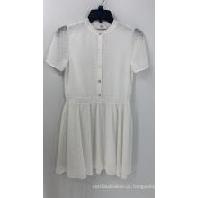 Dobby branco feminino vestido de chiffon de manga curta