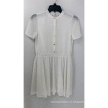 Женское белое добби с коротким рукавом шифоновое платье