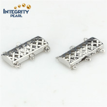 Jewelry Accessory Fashion Clasp 925 Sterling Silver 3 Rows Rectangle Clasp