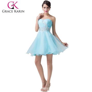 Grace Karin Strapless brillantes Rhinestone corto azul muestras de vestido de cóctel CL6178