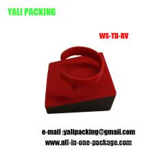 Venda por atacado vermelha personalizada do suporte do bracelete de relógio do rebanho (WS-TD-RV)