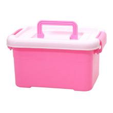 Pequena caixa de armazenamento de plástico multifuncional colorido com alça