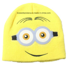 OEM Produce Customized Logo Cartoon Embroidered Winter Acrylic Warm Chlidren Beanie Hat