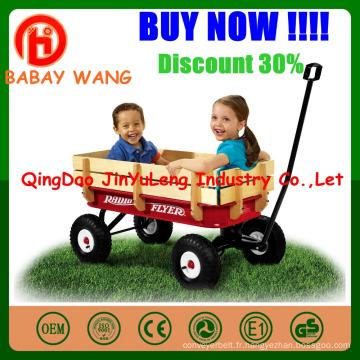 En bois bébé enfants enfants wagon chariot quatre roues peuvent pliage