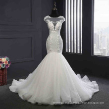 Capped Sleeve Backless Button Mermaid Bridal Gown