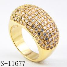 Joyería de las mujeres de la manera anillo de piedra blanco de oro 18k (S-11677)