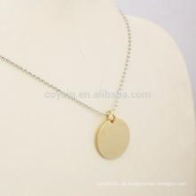 Personalisierte Ihre Logo Gold Runde Anhänger Halskette Schmuck