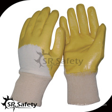 SRSAFETY yellow nitrile gloves/cheap high quality Yellow nitrile coated glove