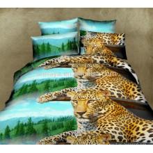 Главная Использования 3D Leopard постельное белье пододеяльник Комплект постельного белья с подушкой покрытия
