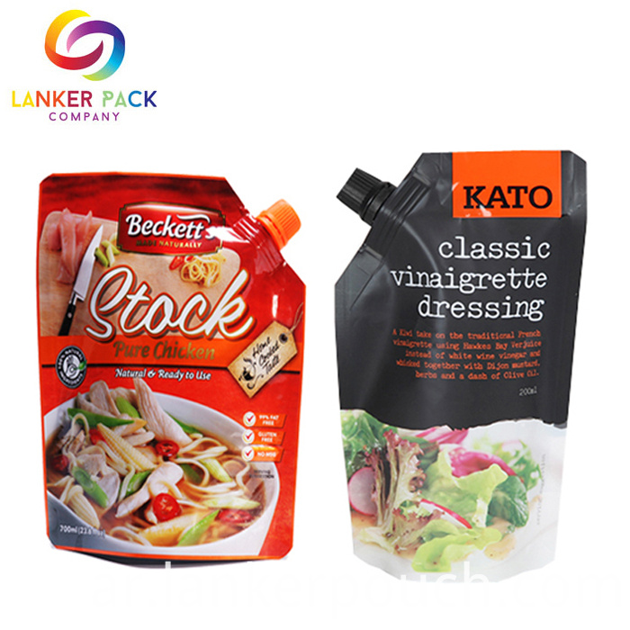 Stand Up Foil Sauce Pouch Spout Packaging Suace Bag