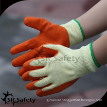 SRSAFETY 10 gauge polycotton liner coated latex on palm,crinkle finish,working orange gloves
