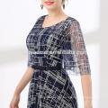 Долго 2018 платье последние дизайн королевский синий Бронзировать кружево с круглым вырезом формальное вечернее платье